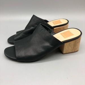 Dolce Vita black leather wooden block heel mules